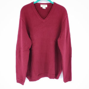 J. Crew V Neck Red 100% Cotton Sweater Size Large